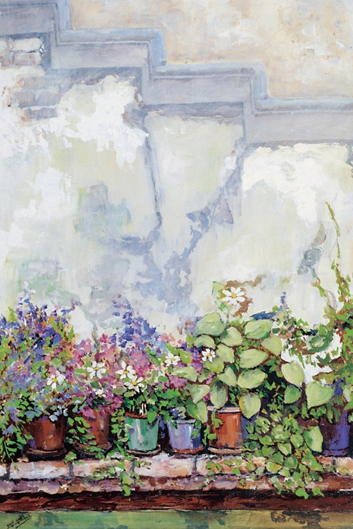 """Flowers on the Porch"" by Nissim Gaon: ""I loved painting already from childhood. Throughout the years, I never managed to do it. My wounds returned me to painting."""