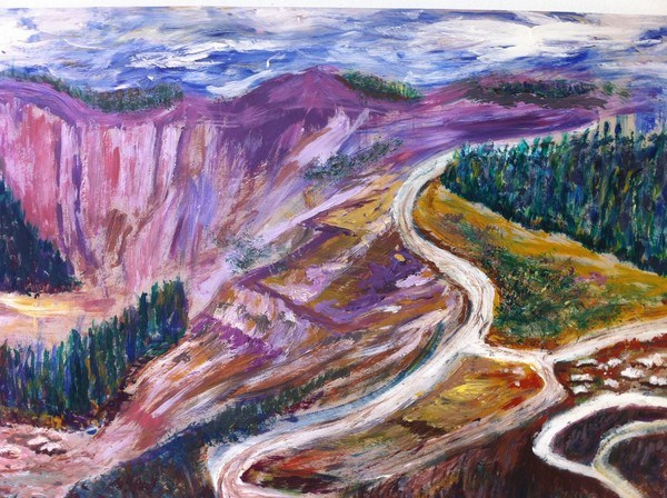 "LANDSCAPE IN PURPLE by Ami Matitiyahu: ""I was very impressed by the landscapes of the United States."""