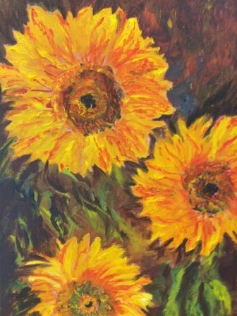 "SUNFLOWERS by Racheli Weiss: ""Artwork is my place of relaxation, especially painting sunflowers in their warm shiny colors, like the sun."""